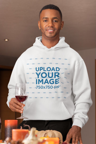 Mockup of a Man with Piercings Wearing a Pullover Hoodie During Thanksgiving 29924