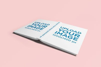 Hard Cover Book Mockup Featuring an Open Book Lying Face Down 735-el