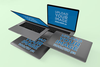 MacBook Pro Mockup Featuring Four Laptops Floating Together 574-el