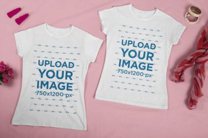 Mockup of Two T-Shirts for Best Friends Placed Over a Plain Surface 29637