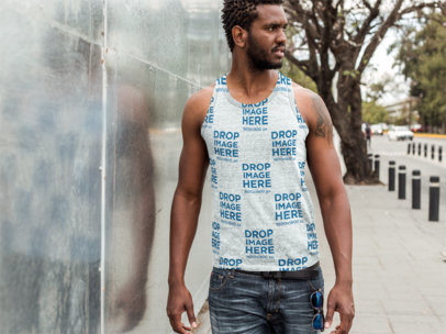 Tank Top Mockup Featuring a Man Walking in the Street a9449