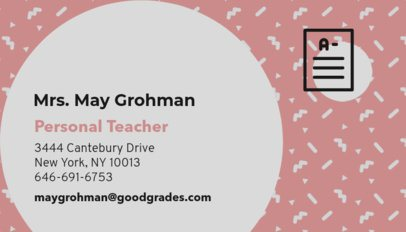 Business Card Maker with Geometric Patterns for a Teacher 574f-68-el