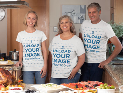 T-Shirt Mockup Featuring a Family at a Home Thanksgiving Dinner 29927