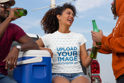 Mockup of a Woman with a Crewneck T-Shirt at a Tailgate Party 29886