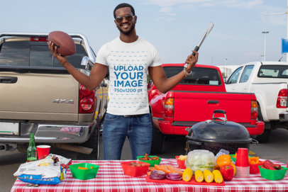 T-Shirt Mockup of a Happy Man at a Tailgate Party 29888