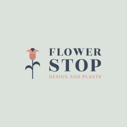 Flower Shop Logo Template with a Minimal Style 1271g 86-el