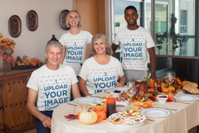 Mockup of a Family Wearing T-Shirts and Having a Thanksgiving Dinner 29930