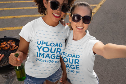 T-Shirt Mockup of Two Friends at a Tailgate Party 29884