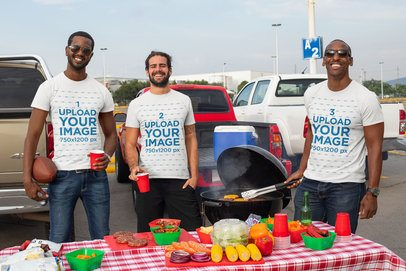T-Shirt Mockup of a Group of Men Enjoying a Tailgate Party 29890