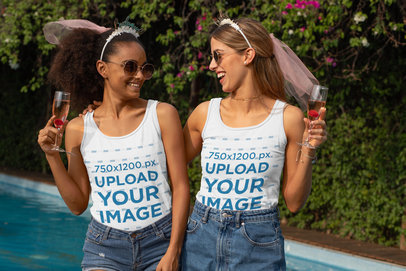 Mockup of Two Friends Wearing Tank Tops at a Bachelorette Party 29676