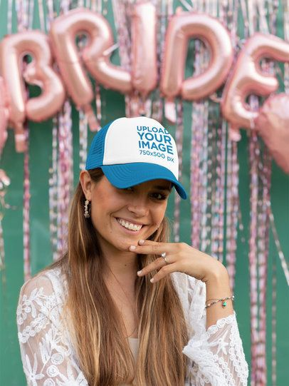 Mockup of a Bride Wearing a Trucker Hat at Her Bachelorette Party 29681