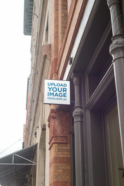 Squared Shop Sign Mockup Featuring a Classical-Looking Doorway 684-el