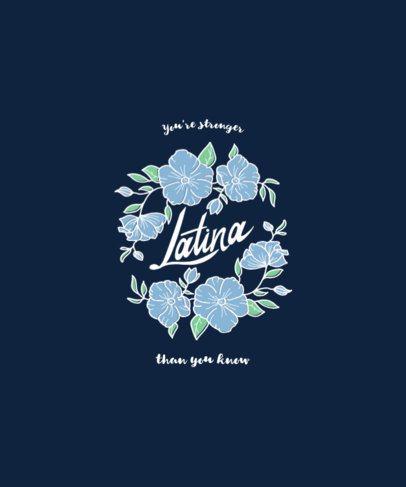 Latina Women T-Shirt Design Template Featuring Blue Flowers Clipart 1920d