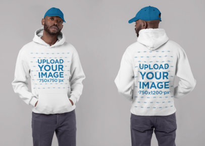 Both Sides Hoodie Mockup of a Man Wearing a Hat in a Studio 29642