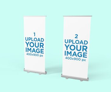Roll-Up Banner Mockup Featuring Two Banners with a Plain Color Background 811-el