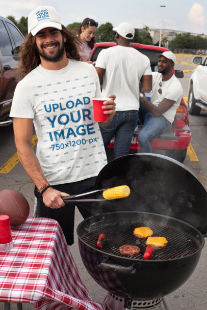 Trucker Hat Mockup of a Smiling Man Wearing a T-Shirt at a Tailgate Party 29894