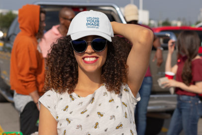 Dad Hat Mockup of a Curly-Haired Woman at a Tailgate Party 29880