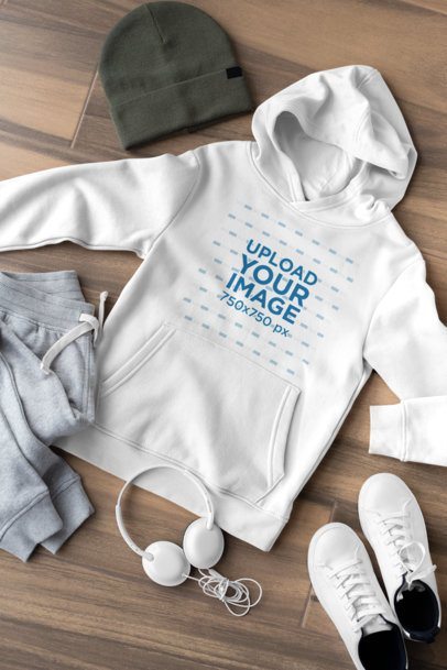 Pullover Hoodie Mockup of a Boy's Outfit 29818