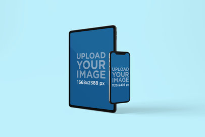 Mockup Featuring an iPhone 11 Pro and an iPad Pro Against a Solid Color Backdrop 782-el