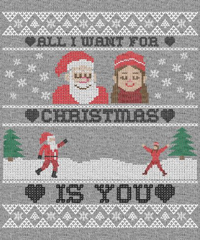 Ugly Christmas Sweater Generator for a Romantic Santa Claus Graphic 1914g