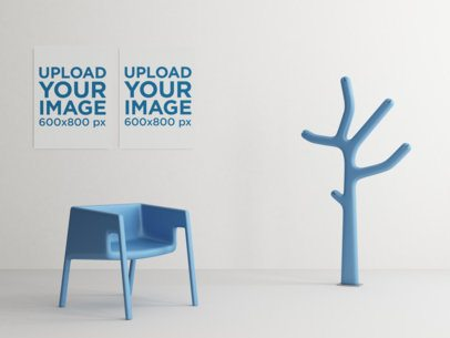 Mockup of Two Art Prints Hanging by Modern Plastic Furniture 338-el