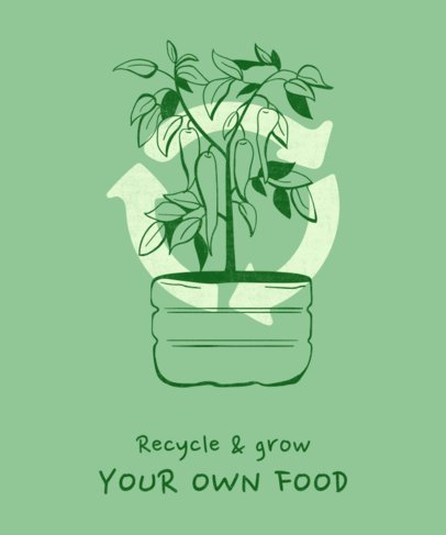 Sustainability T-Shirt Design Maker Featuring a Reused Plant Pot 1922b
