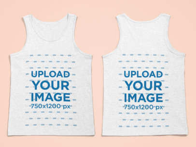 Front and Back Mockup of a Heathered Tank Top Lying on a Flat Surface 29649