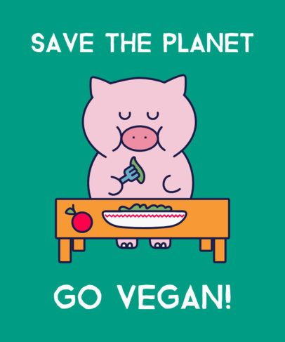 T-Shirt Design Maker with a Cartoon Pig Eating Vegan 1921e