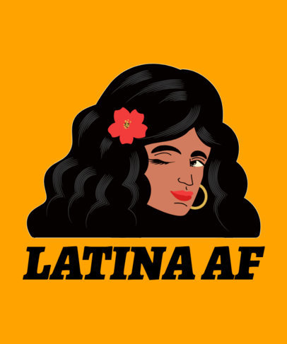 T-Shirt Design Generator with a Latina Woman Winking 1918c