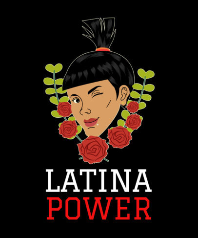 T-Shirt Design Template with a Latina Power Illustration 1918e