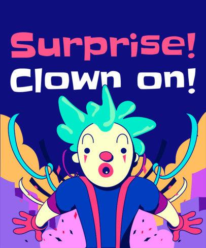 T-Shirt Design Template with a Surprise Clown Graphic 1915c