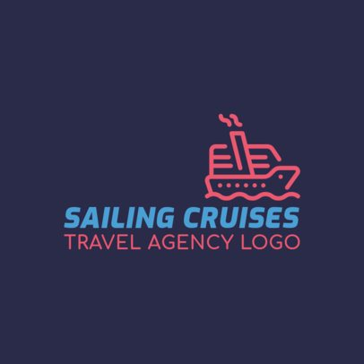Travel Agency Logo Maker with a Cruise Ship Clipart 2504l-73-el
