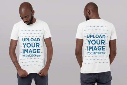 Front and Back T-Shirt Mockup of a Man at a Studio Looking Down 29611