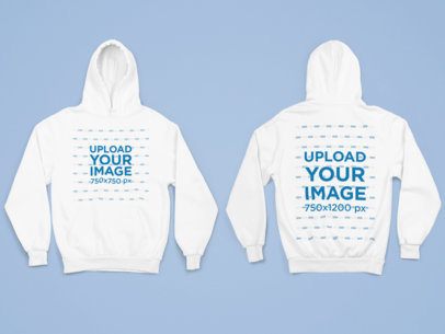 Both-Sides View Mockup of a Pullover Hoodie Against a Flat Surface 29775