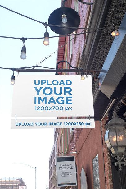 Mockup of a Shop Sign Among Hanging Street Lights 683-el