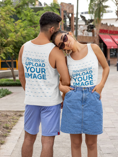 Both Sides Mockup of a Couple Wearing Tank Tops 29789