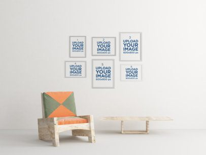 Mockup Featuring Six Art Prints Hanging over Some Modern Wooden Furniture 340-el
