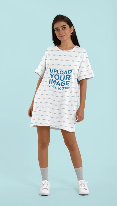 Mockup of a Woman Wearing a Shift Dress at a Studio 29754