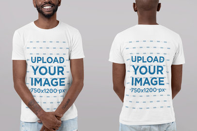 Front and Back View Mockup of a Crewneck T-Shirt Against a Customizable Background 29609