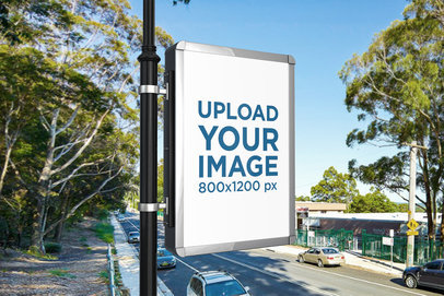 Advertising MUPI Mockup Placed on a Street Lamp Post 450-el