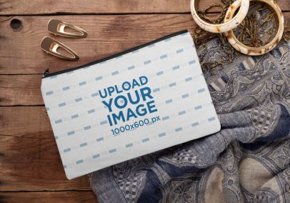 Sublimated Pouch Mockup Surrounded by Hair Pins and Bracelets 29990