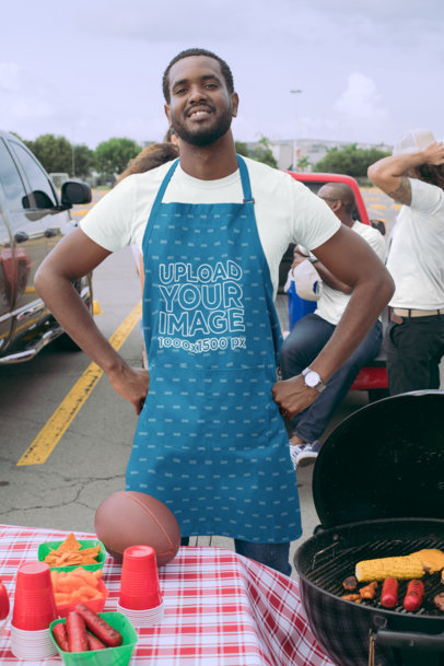 Mockup of a Man Wearing an Apron at a Tailgate Party 29895