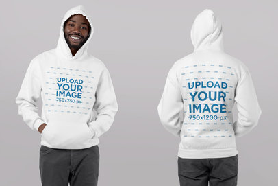 Both-Sides View Mockup of a Man Wearing a Pullover Hoodie in a Studio 29643