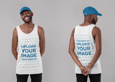 Both-Sides Tank Top Mockup Featuring a Bearded Man at a Studio 29648