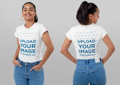 Both-Sides View of a Smiling Woman Wearing a T-Shirt at a Studio 29653