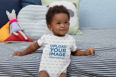 Mockup of a Baby Wearing a Sublimated Onesie 30023