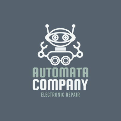 Logo Generator for Electronic Repair Shops Featuring a Robot Clipart 1252h 107-el