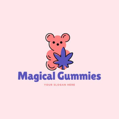 Cannabis Logo Template Featuring a Gummy Bear Illustration 2648f