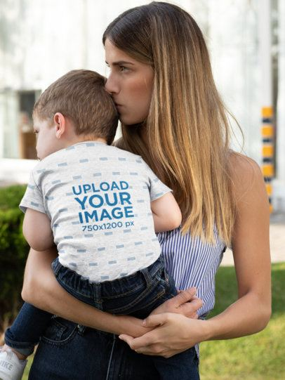 Short Sleeve Onesie Mockup Featuring a Young Mom Holding Her Baby Boy 29910
