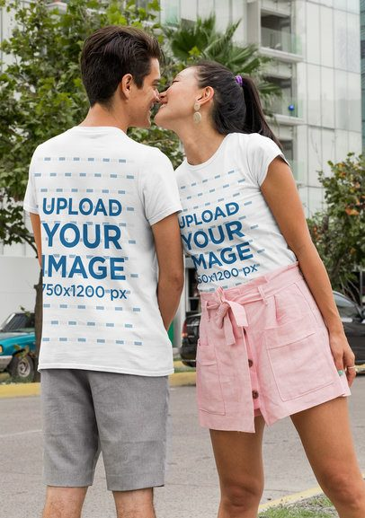 Mockup of a Couple Wearing Customizable T-Shirts Seen from Both Sides 29768